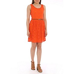 Mela - Dark orange lace belted dress