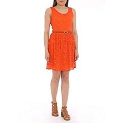 Mela - Dark orange lace belted dress