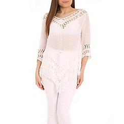 Amaya - White crochet detail tunic top