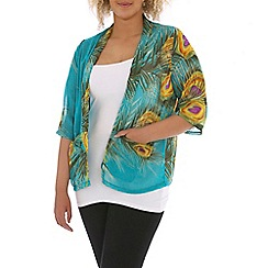 Samya - Multicoloured peacock feather print cardigan