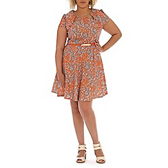 Samya - Orange belted baroque print dress