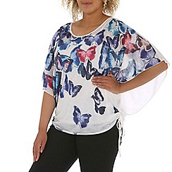 Samya - Blue kimono top with butterfly print