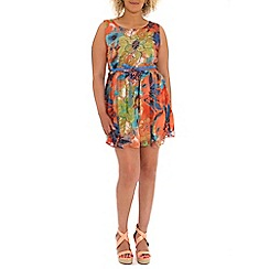 Samya - Multicoloured fit and flare chiffon dress with belt