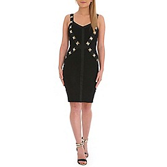 Jumpo London - Black bandage with gold backless dress