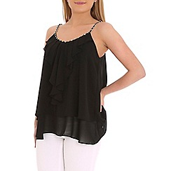 Jumpo London - Black frill front top with gold chain