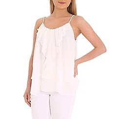 Jumpo London - White frill front top with gold chain