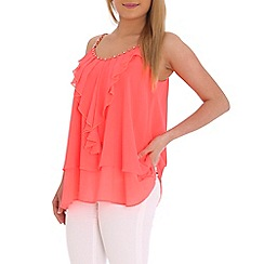 Jumpo London - Peach frill front top with gold chain