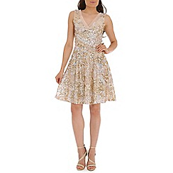 Belle by Badgley Mischka - Pink sequined pleated v neck dress