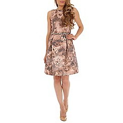 Belle by Badgley Mischka - Multicoloured metallic jacquard party dress with pleat