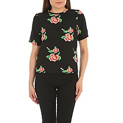 Cutie - Black floral print loose top