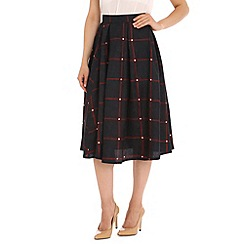 Cutie - Navy checkered floral skirt