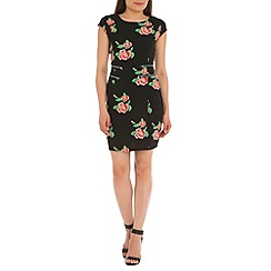 Cutie - Black floral bodycon dress