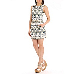 Tenki - Light grey flower print shift dress