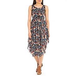 Tenki - Blue feather print dress