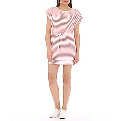 Damned Delux - Pink sailor striped drawstring waist dress