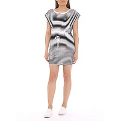 Damned Delux - Navy sailor striped drawstring waist dress