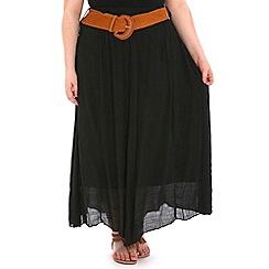Samya - Black mesh belted plain skirt