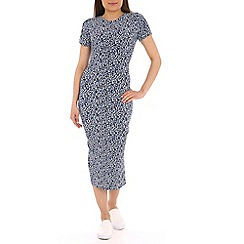 Sugarhill Boutique - Blue leopard print bodycon midi dress