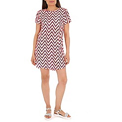 Izabel London - Pink neon zig zag print dress