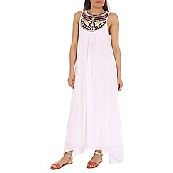 Izabel London - White cover stitch tribal maxi dress