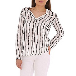 Izabel London - Black striped v front top