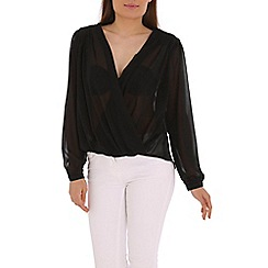 Izabel London - Black wrap front roll sleeve top