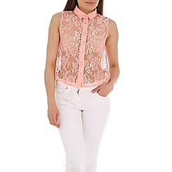 AS by Anna Smith - Peach lace shirt