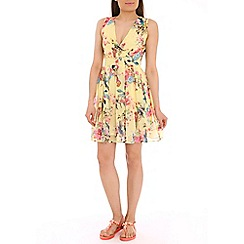 Pussycat London - Yellow bird print crossover dress