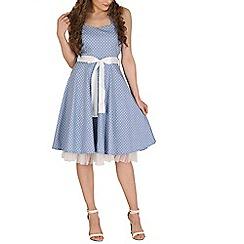 Izabel London - Light blue polka print tube dress