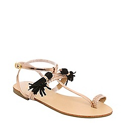 Alice & You - Light gold tassel detail T-bar sandals