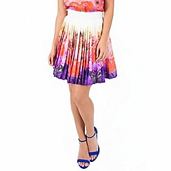 Wolf & Whistle - Multi-coloured floral pleated skirt