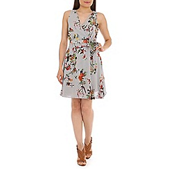 Tenki - Grey bird and flower print dress
