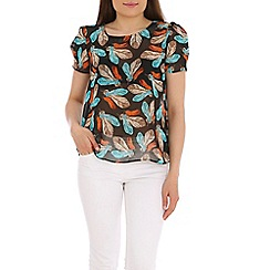 Tenki - Black feather print top