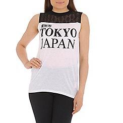 Damned Delux - White tokyo japan slogan vest