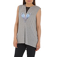 Damned Delux - Grey vest with embellished bird design