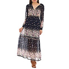Mela - Navy floral print maxi dress