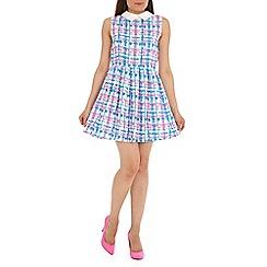 Mela - White check print collar dress