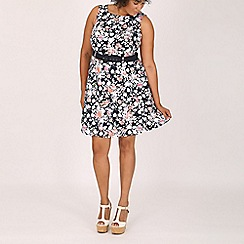 Samya - Navy floral print dress