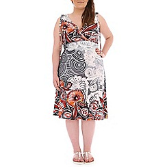 Samya - Grey multi print v neck dress