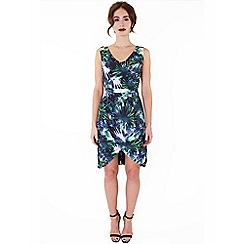 Wolf & Whistle - Multicoloured palm print drape skirt dress