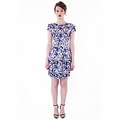 Wolf & Whistle - Blue cherry blossom tailored dress