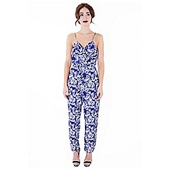Wolf & Whistle - Blue blossom print cross over jumpsuit