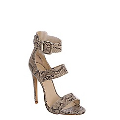 Alice & You - Tan snakeskin ankle strap sandals