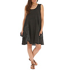 Amaya - Dark grey linen shift dress with lace