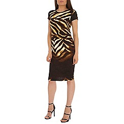 Indulgence - Brown printed midi dress