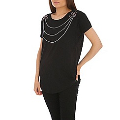 Indulgence - Black black cotton top with stud necklace.