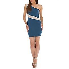Indulgence - Mid blue one shoulder dress