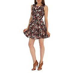 Mela - Brown butterfly print dress