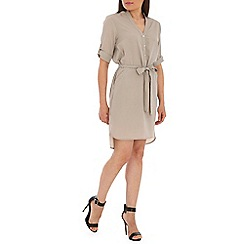 Ayarisa - Light grey tie waist pocket shirt dress