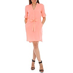 Ayarisa - Dark peach tie waist pocket shirt dress